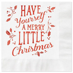 Other - 25 red foil & white Christmas luncheon napkins